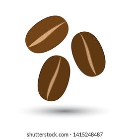 Three grains of coffee fall on a white background