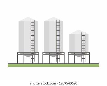 Three Granary. Agribusiness. isolated on white background