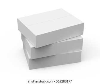 three gray flat 3d rendering paper boxes stacking, isolated white background, left tilt