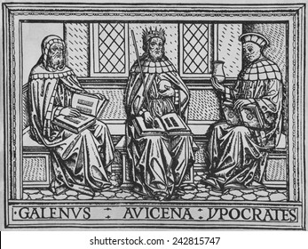 The three great ancient teachers of medicine: Galen (Roman), Avicenna (Persian), and Hippocrates (Greek). Woodcut from an early 15th century Latin language medical book.