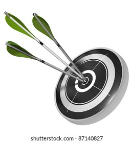three green arrows hitting the center of the same black target, 3d render image over white background
