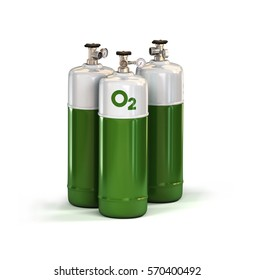 three green compressed oxygen gas containers with high pressure regulator. 3d rendering isolated on white background.