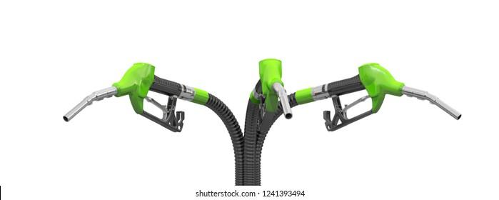 Three green refill guns (petrol gun or oil dispenser). 3d illustration. Isolated on white background.