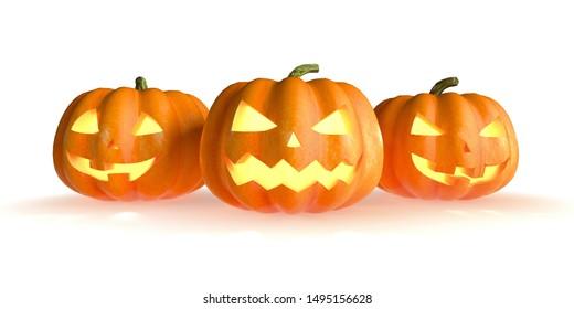 Three Halloween pumpkins head jack lantern isolated on white background. 3D Rendering illustration