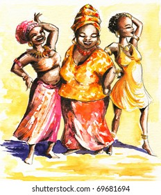 Three happy dancing African  women.Picture I have created myself with watercolors.