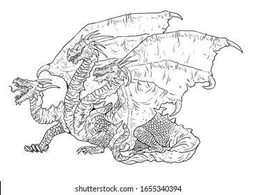 Three headed dragon coloring page. Outline illustration. Dragon drawing coloring sheet.
