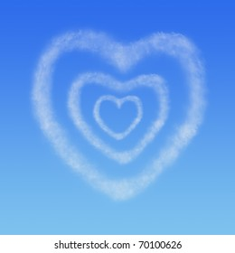 three hearts from clouds in the blue sky