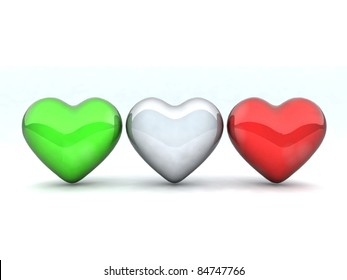 three hearts colored like the Italian flag