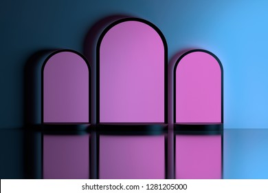 Three hollow empty arches illuminated by pink light in blue wall over the reflective floor. Hollow niches. 3d illustration.