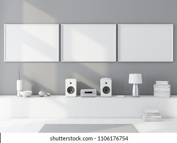 Three horizontal poster frames mockup in modern room, 3d rendering