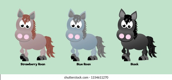 Three horses showing different coat colours: strawberry/red roan, blue roan, and black.