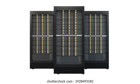 Three hosting server rack containers isolated on white background. Clipping path image.3D render illustration image.