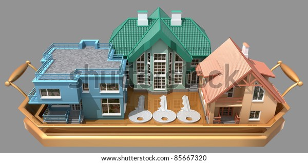 Three houses in a gift on a tray. Image with clipping path.