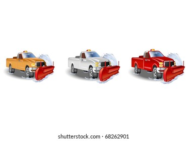 three  illustration of a large truck with a snowplow tool