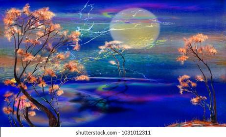 Three isolated trees and moonlight