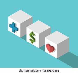 Three isometric cubes with cross, dollar sign and heart on turquoise blue. Work, life, health, family balance and choice concept. Flat design. 3d illustration. Raster copy