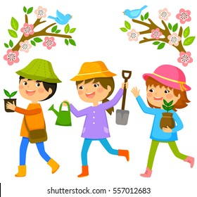 three kids going to plant trees