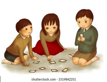 Three Kids Playing Card Games