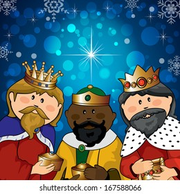 Three kings with gifts on the background of bright lights and comet