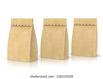 Three kraft paper lunch bags mockup in 3d render on white background