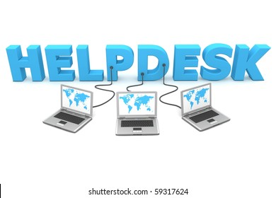 three laptops with a world map connected to the blue 3D word HELPDESK