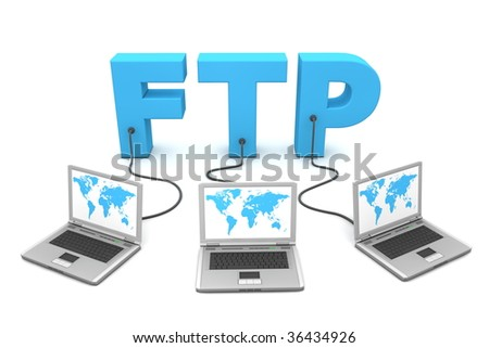 three laptops with world map connected to the 3D word FTP
