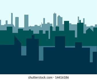 Three layers of skyline creating deep space.