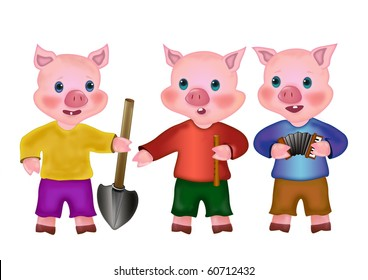 Three Little Pigs. Cartoons fabulous pink piglets. Fairy-tale characters on a white background.