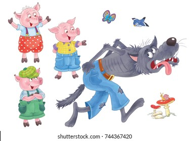 Three little pigs. Cute happy pigs and running wolf. Fairy tale. Coloring book. Coloring page. Illustration for children. Funny cartoon characters isolated on white background