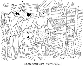 Three little pigs. Fairy tale. Coloring book. Coloring page. Cute and funny cartoon characters