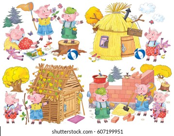 Three little pigs, Fairy tale. Coloring book. Coloring page. Illustration for children. Cute and funny cartoon characters
