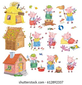 Three little pigs. Fairy tale. Set of cute fairy tale characters. Illustration for children. Coloring page. Cute and funny cartoon characters