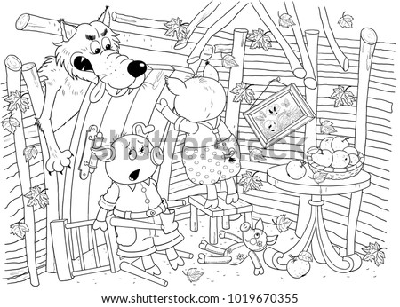 Three Little Pigs Fairy Tale Coloring Stock Illustration 1019670355