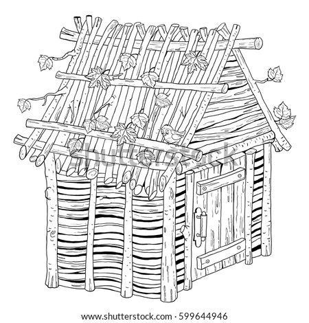Three Little Pigs Fairy Tale House Made Of Sticks Illustration For Children