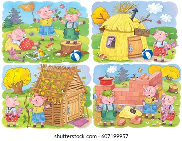 Three little pigs. Four pages. Fairy tale. Coloring book. Coloring page. Illustration for children. Cute and funny cartoon characters