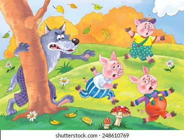 Three little pigs and the wolf. Fairy tale. Illustration for children