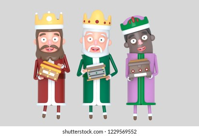 Three Magic King standing. Isolated.3d illustration