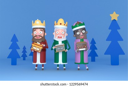 Three Magic King standing on a blue scene with trees. Isolated.3d illustration