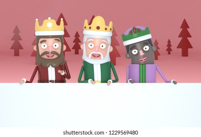Three magic kings holding  a big white placards in a red forest.3d illustration