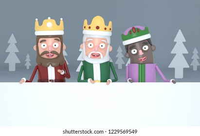 Three magic kings holding  a big white placards in a grey forest.3d illustration