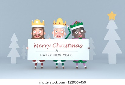 Three Magic Kings holding a placard with Greetings.3d illustration