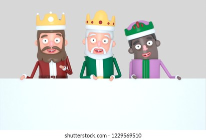 Three Magic Kings holding a White placard. Isolated.3d illustration