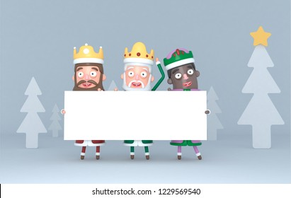 Three Magic Kings holding a white placard in a forest. Isolated..3d illustration