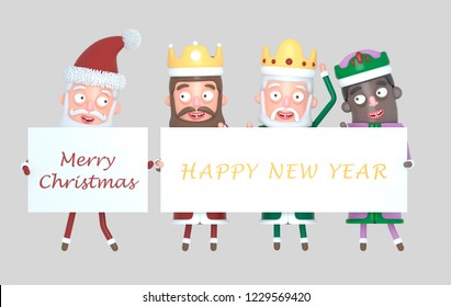Three Magic Kings  and Santa Claus holding a placard with Greetings. Isolated.3d illustration