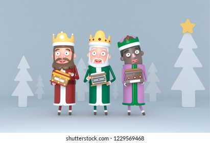 Three Magic Kings standing on a grey scene with trees. Isolated.3d illustration