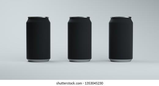Three matte dark soda cans on elegant light background. 3D rendering.