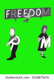 Three mature people taking individual letters from a sign that says freedom in capital letters. Persons walking away with letters from a large freedom sign.