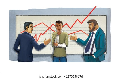 Three men arguing near the graphic with red lines