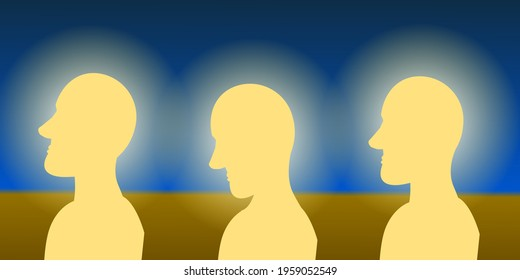 Three men profiles made with light in a process that symbolize the self illumination. Digital Illustration