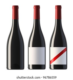 three merged pictures of burgundy shape red wine bottles with blank labels and without label, render.